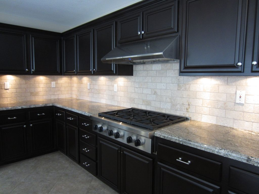 dark cabinets white backsplash photo - 6