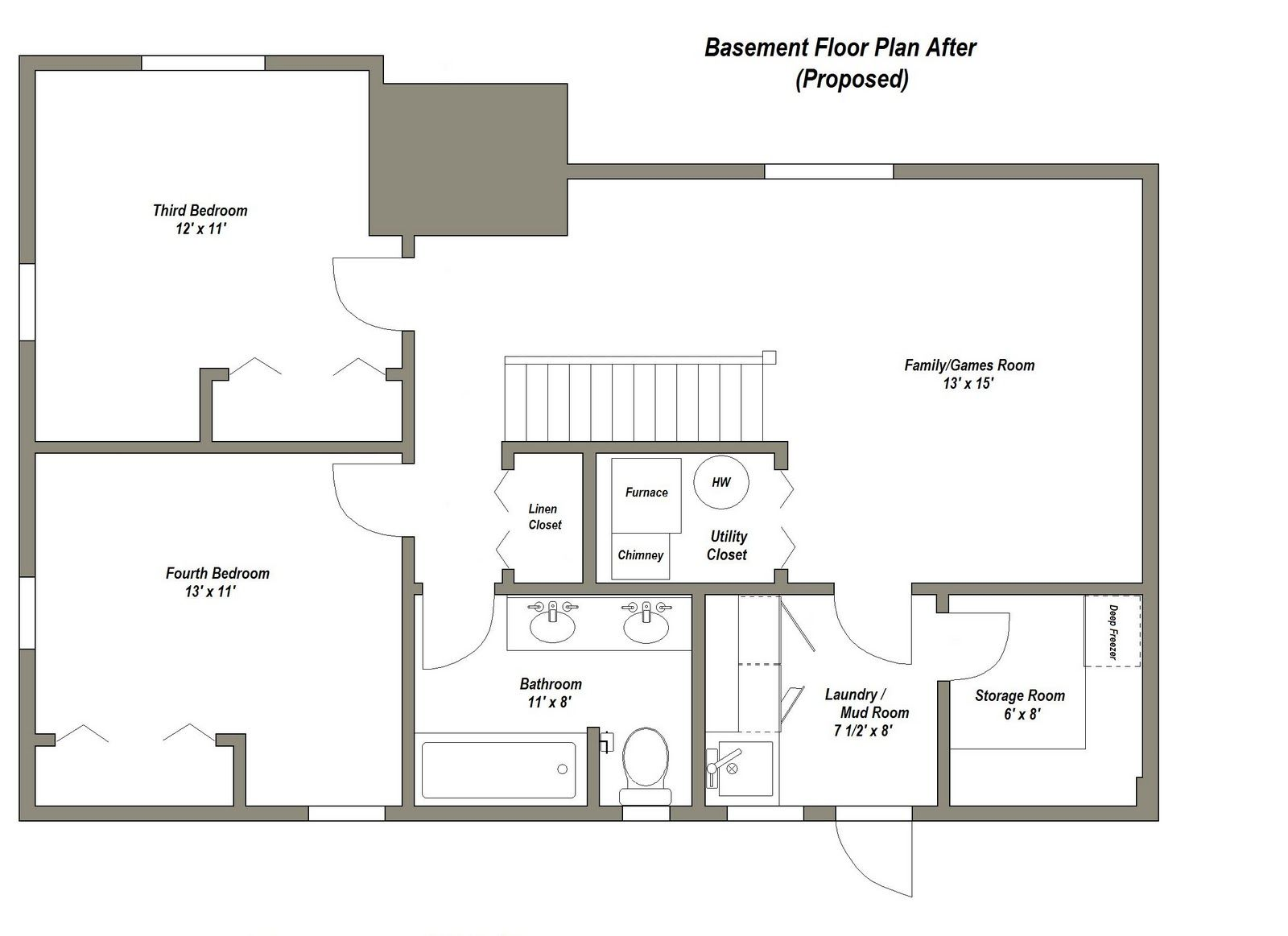 finished basement plans ideas photo - 3