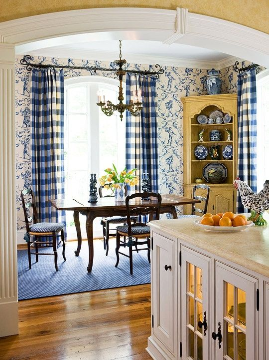 french country kitchen blue and yellow photo - 1