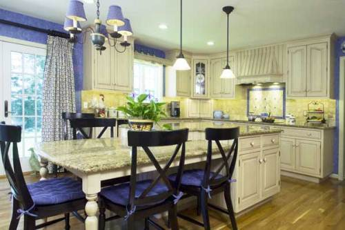 french country kitchen blue and yellow photo - 4