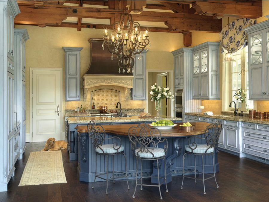french country kitchen blue and yellow photo - 5