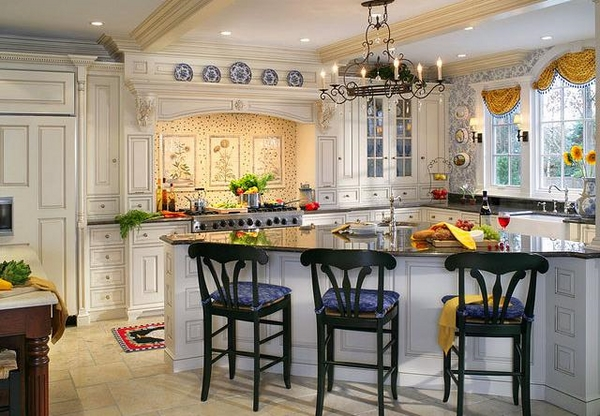 french country kitchen blue and yellow photo - 7