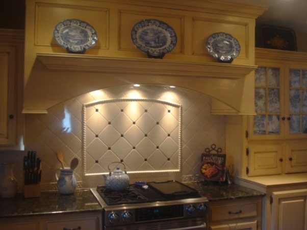 french country kitchen blue and yellow photo - 8
