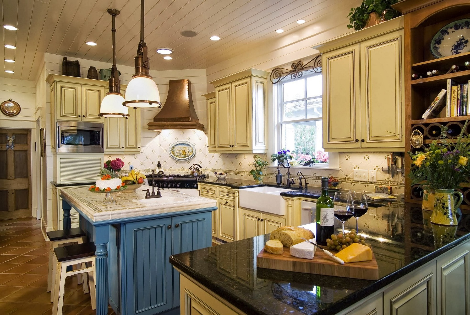 french country kitchen blue and yellow photo - 9
