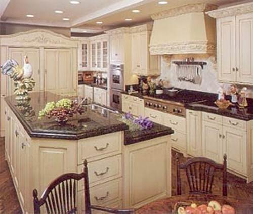 french country kitchen granite photo - 1