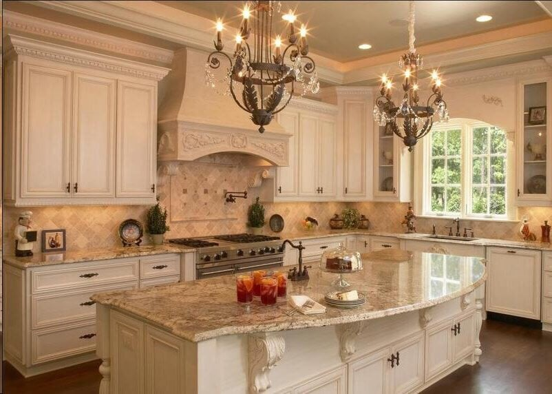 french country kitchen granite photo - 2