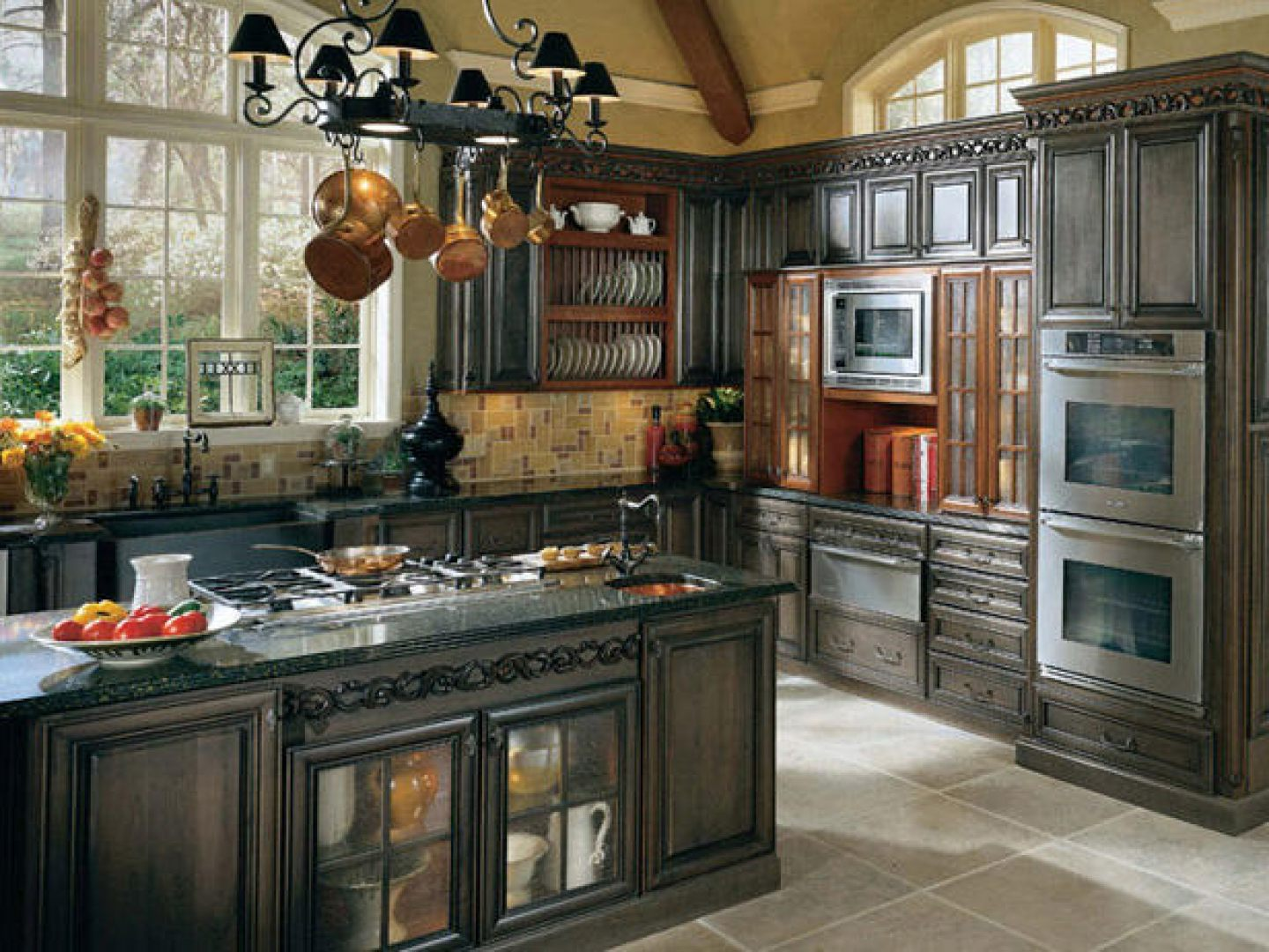 french country kitchen granite photo - 5