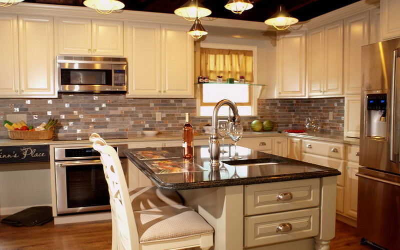 french country kitchen granite photo - 6