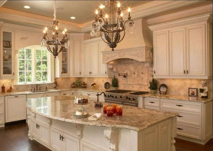 french country kitchen granite photo - 9