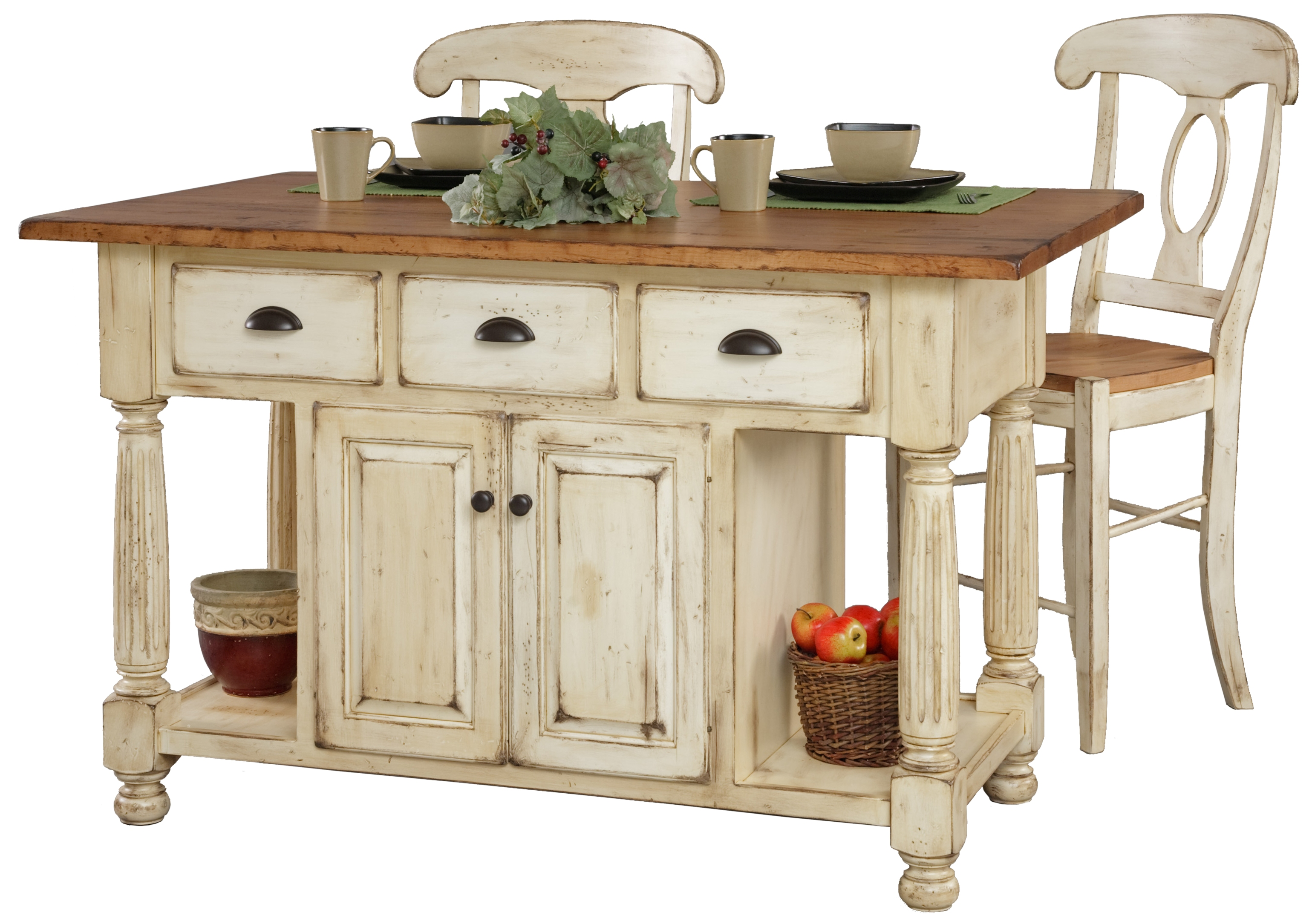 french country kitchen island table photo - 5
