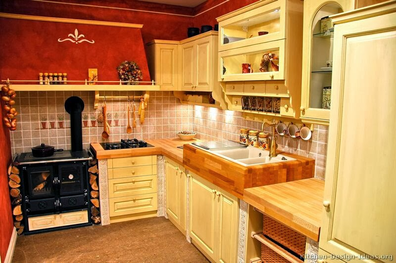 french country kitchen red photo - 10