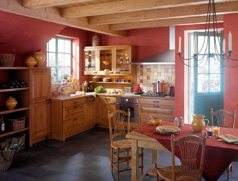 french country kitchen red photo - 9