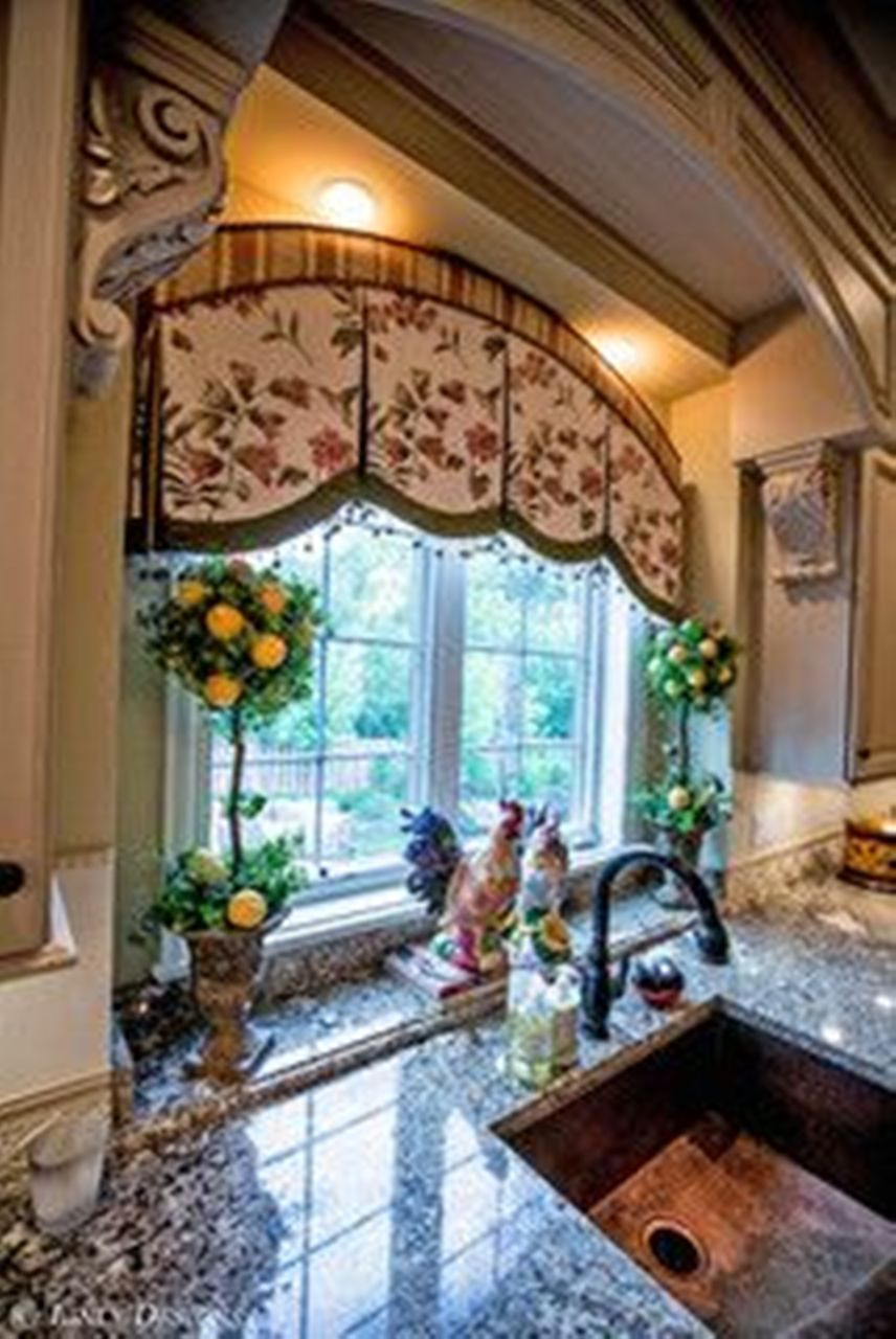 french country kitchen window treatments photo - 2