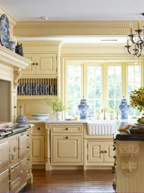 french country kitchen yellow blue photo - 2