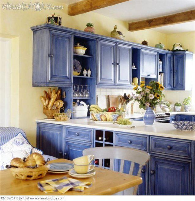 french country kitchen yellow blue photo - 8