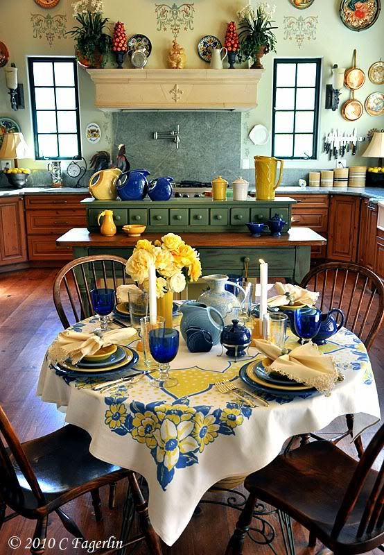french country kitchen yellow blue photo - 9