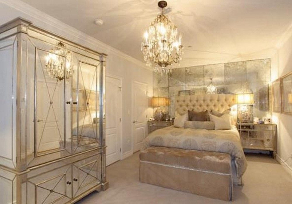 gold mirrored bedroom furniture photo - 1