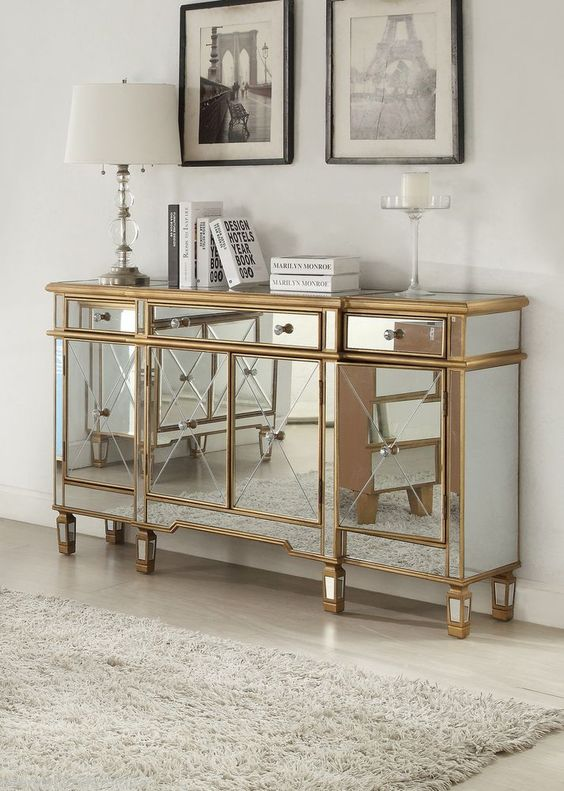 gold mirrored bedroom furniture photo - 6