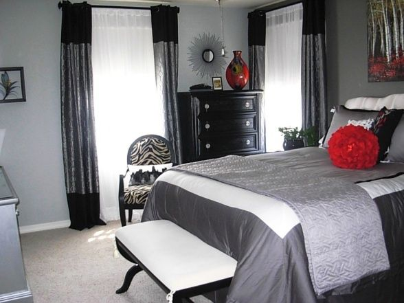 grey and black bedroom design photo - 10