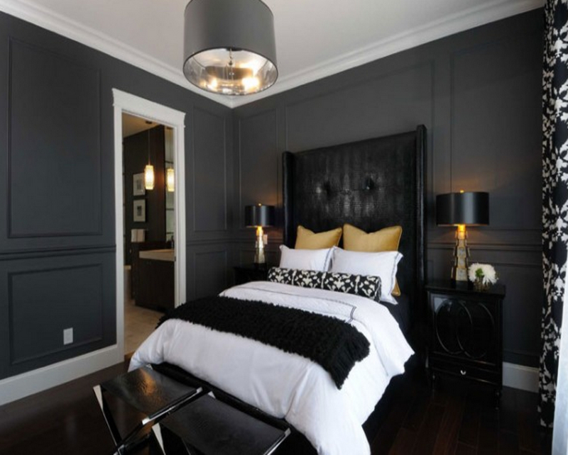 grey and black bedroom design photo - 2