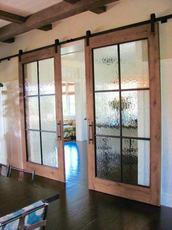 interior french doors with rain glass photo - 4