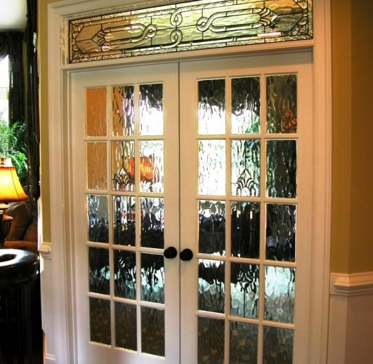 interior french doors with rain glass photo - 8