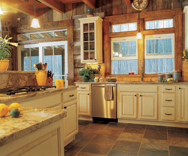 kitchen cabinet ideas for log homes photo - 1