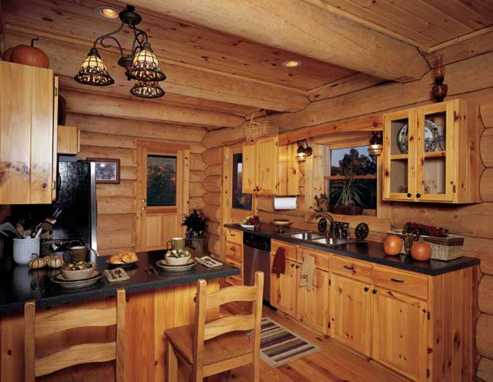 kitchen cabinet ideas for log homes photo - 6