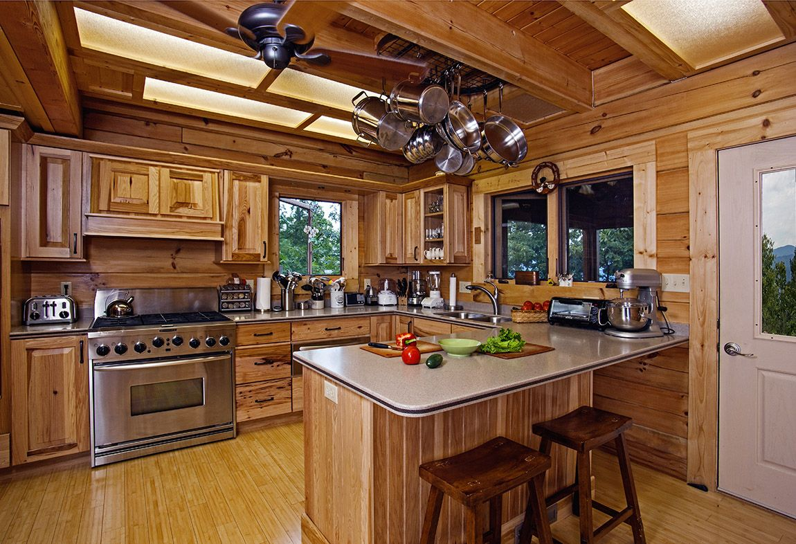 kitchen cabinet ideas for log homes photo - 7