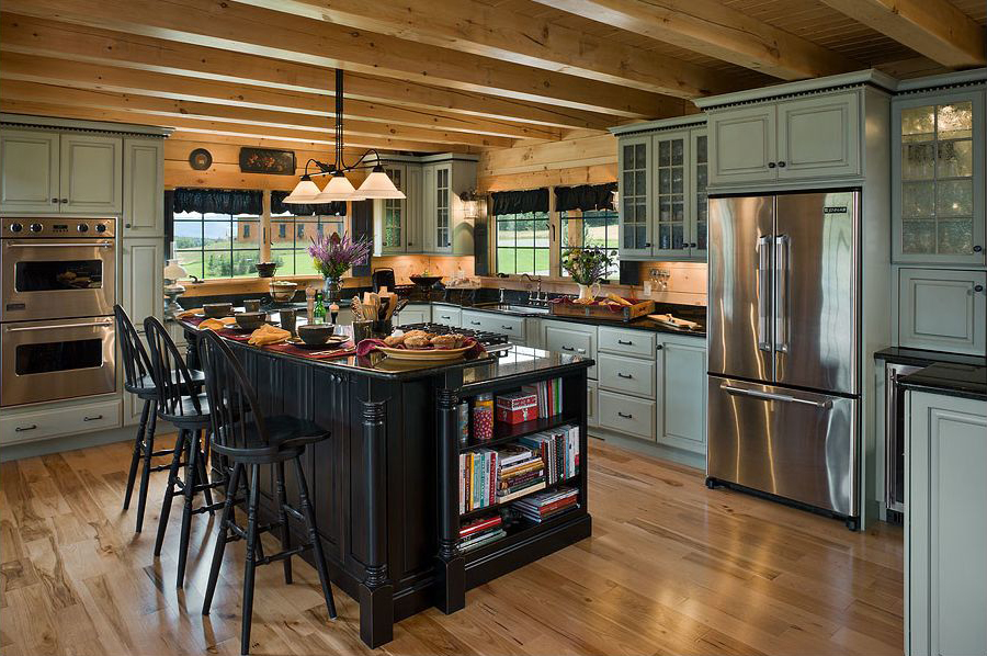 kitchen cabinet ideas for log homes photo - 8