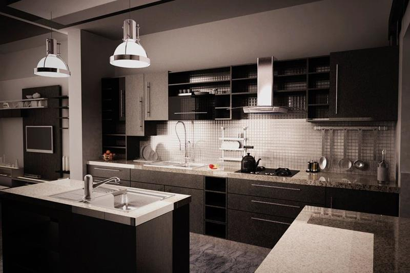 kitchen design ideas black cabinets photo - 9