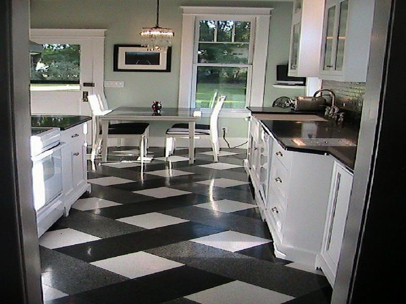 kitchen floor tile black and white photo - 10