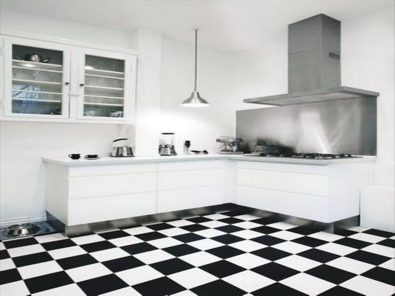 kitchen floor tile black and white photo - 5