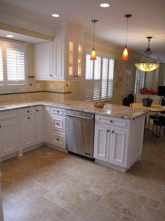 kitchen floor tile ideas with white cabinets photo - 1