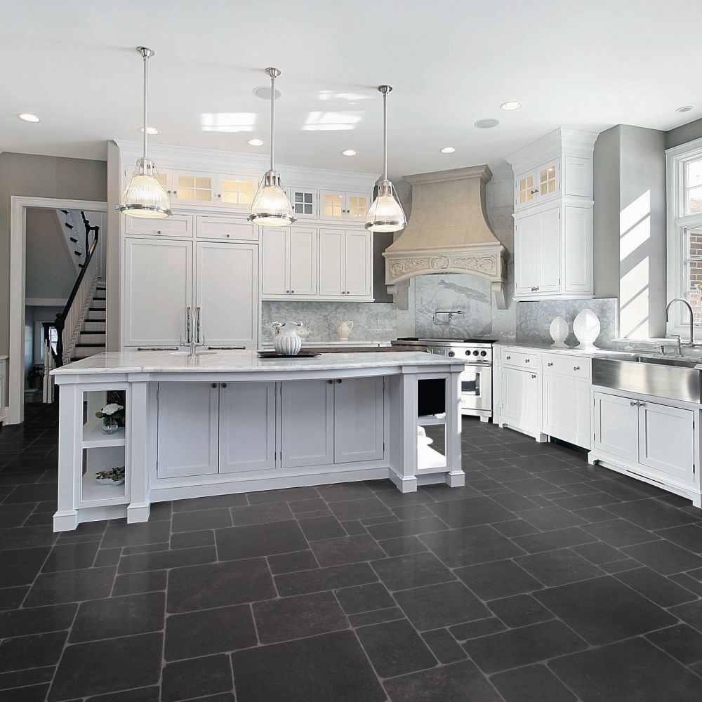 kitchen floor tile ideas with white cabinets photo - 7