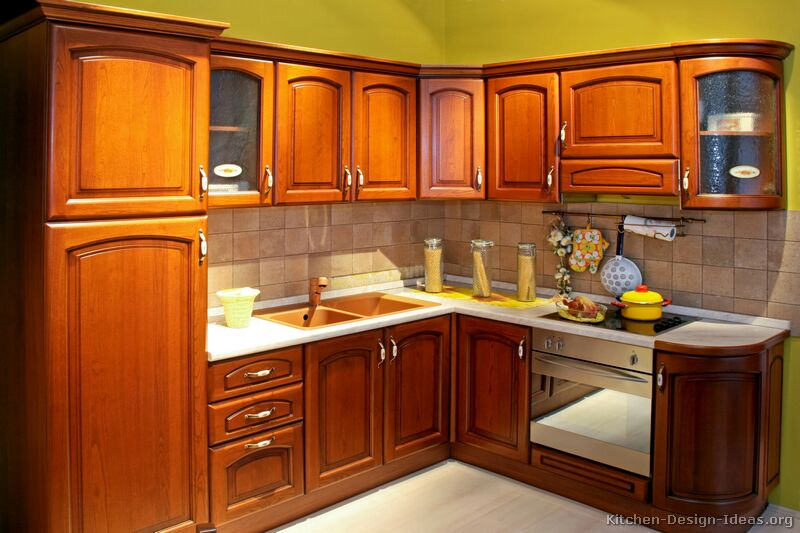 kitchen ideas wood cabinets photo - 1