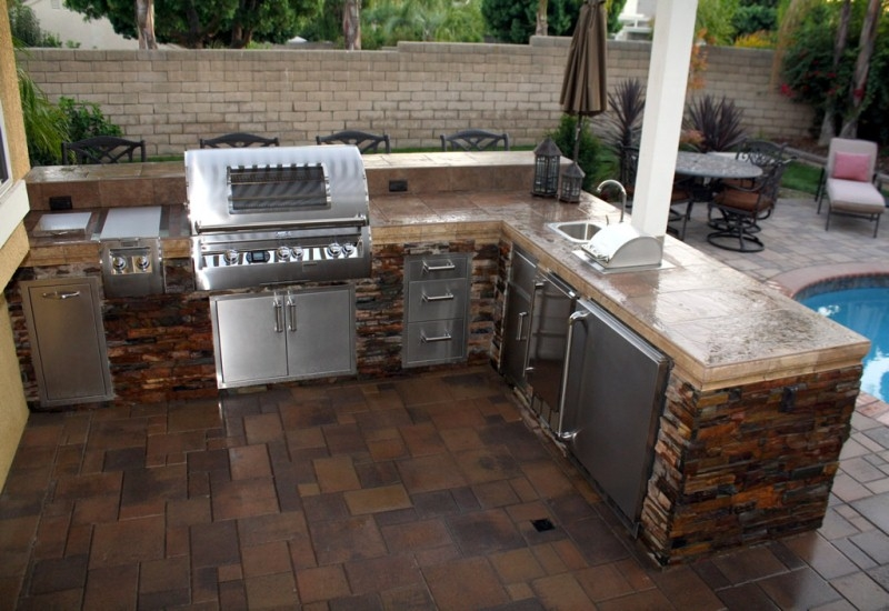 l shaped outdoor kitchen plans photo - 3