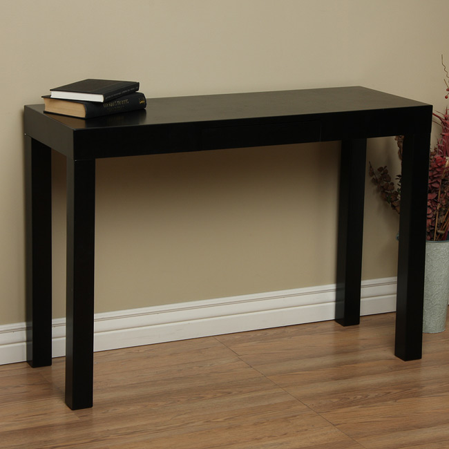lachlan glossy black sofa table photo - 2
