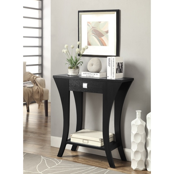 lachlan glossy black sofa table photo - 3