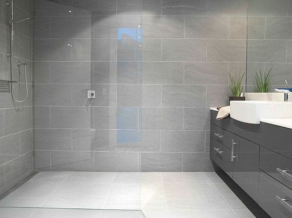 light grey bathroom tiles designs photo - 1