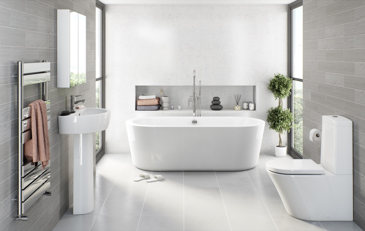 light grey bathroom tiles designs photo - 9