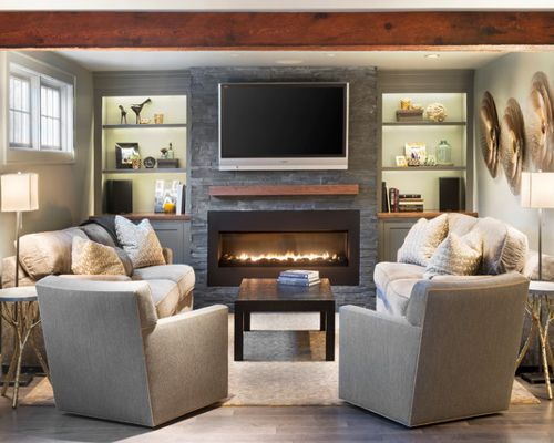 living room furniture ideas+fireplace photo - 3