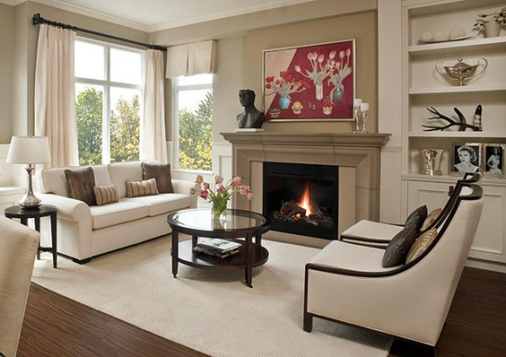 living room furniture ideas+fireplace photo - 5