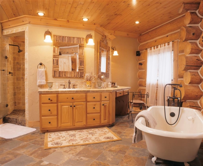 log home bathrooms photo - 10