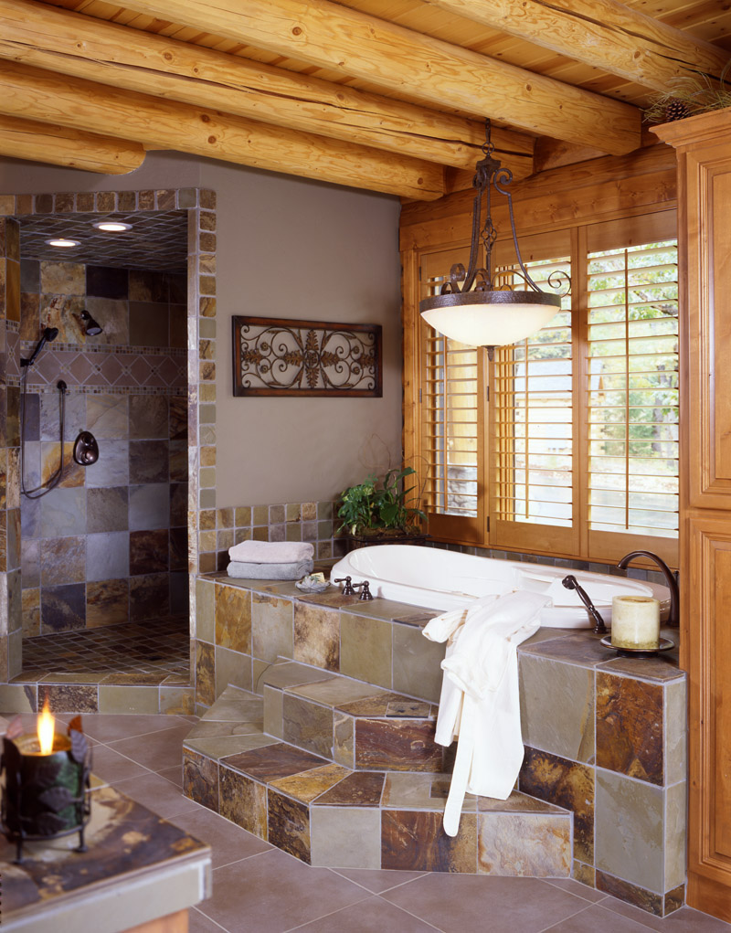 log home bathrooms photo - 4