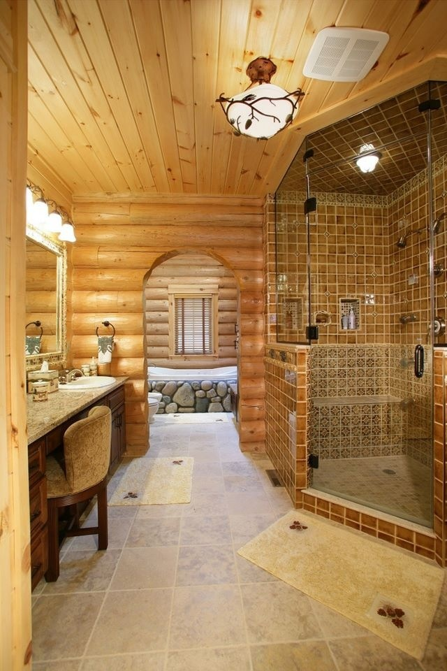 log home bathrooms photo - 8