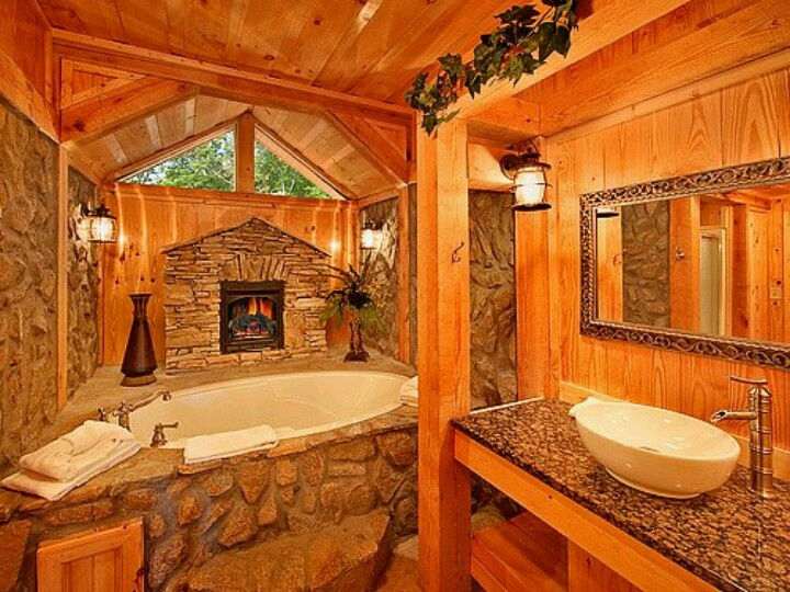 log home bathrooms photo - 9