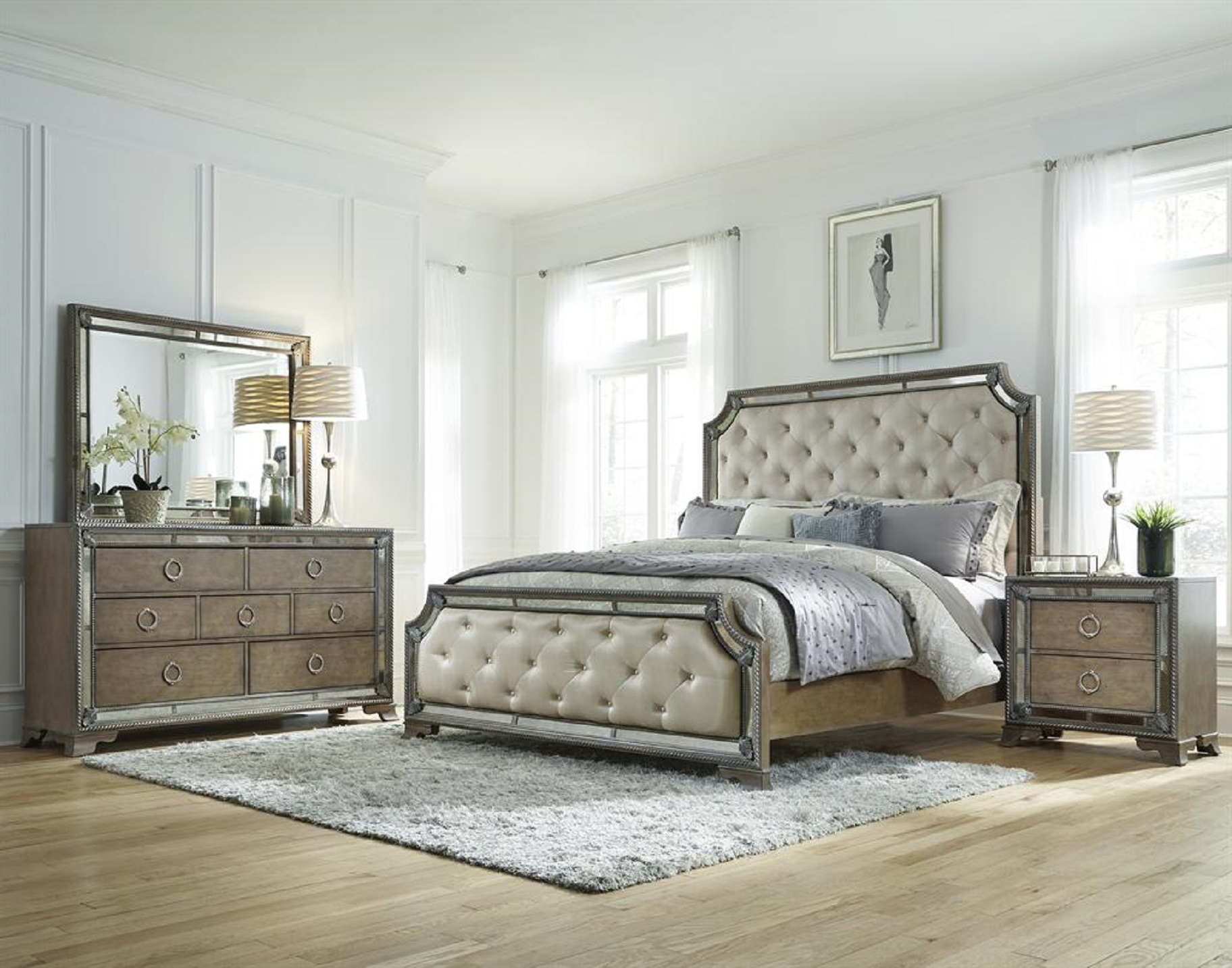 luxury mirrored bedroom furniture photo - 10