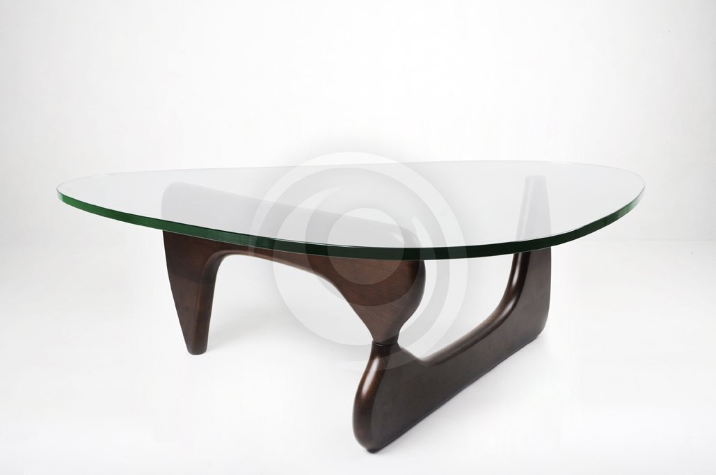modern coffee table glass and wood photo - 2