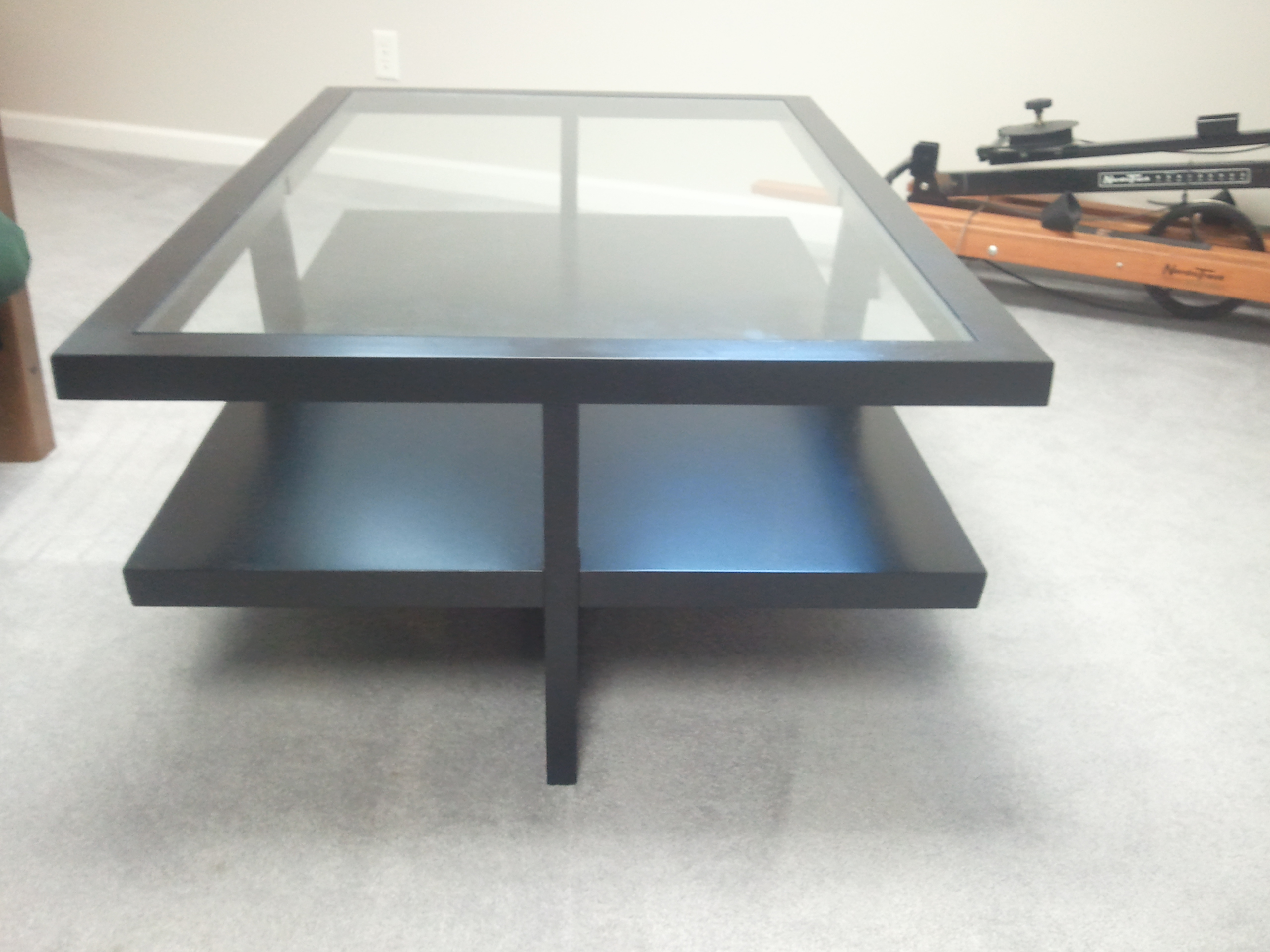 modern coffee table glass and wood photo - 3